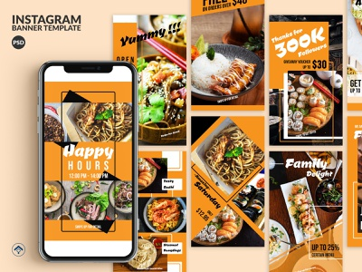 Delicious – Food Instagram Stories Template cuisine restaurant template creative layout design banner ad web banner instagram delight festival bazaar foodie food