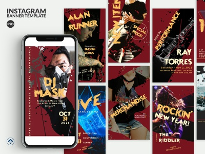 Rockin - Music Event Instagram Stories Template instagram stories banner ad instagram dance party dance music techno band album performance artist music app live music party events music