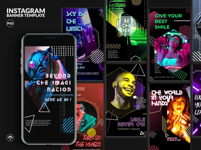 Neon Light - Activity Instagram Stories Template design blog template instagram stories instagram web banner banner ad club music dance glow neon abstract colorful party dark night activity