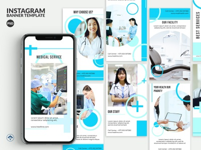 Healline - Medical Instagram Stories Template template instagram stories instagram web banner banner ad diagnose surgery nurse consultant consulting health app healthcare health service covid19 hospital doctor