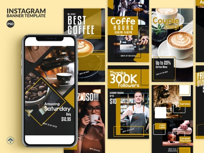Macchiato - Barista Coffee Instagram Stories Template template instagram stories instagram web banner banner ad offer promotion coffeeshop food beverage creative cafe espresso coffee barista