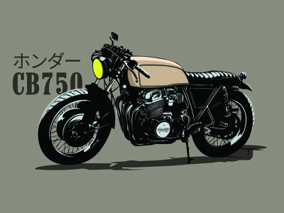 CB750 Illustration graphic design cb750 honda bike retro minimal vector illustration design motorcycle