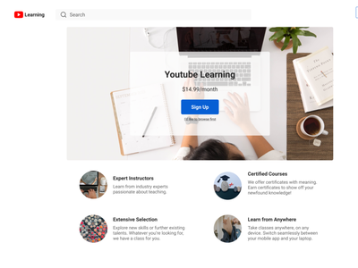 YouTube Learning landing screen information architecture figma ui ux design