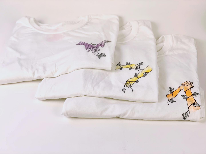 """""""The Nature of Physical Touch"""" T-shirt designs drawing love clothing shirt design handmade hands color illustration t-shirt design serigraph screenprinting"""