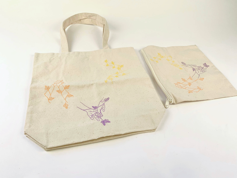 """""""The Nature of Physical Touch"""" Bag Design fashion textile textile printing clothing print bag design tote bag touch love illustration serigraph screenprinting screenprint"""
