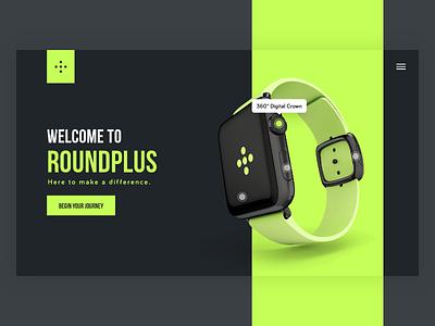 Roundplus Landing Page #DailyUI #003 app website design ux ui interraction abovethefold page dailyui landing watch