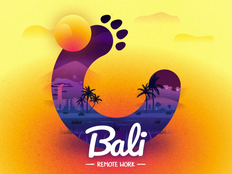 Remote on Bali sunset grunge indonesia bali icon typography branding vector logo ukraine kyiv design illustration