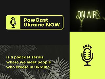 PawCast. Ukraine NOW branding icon logo ukraine kyiv design illustration record microphone macpaw podcast identity