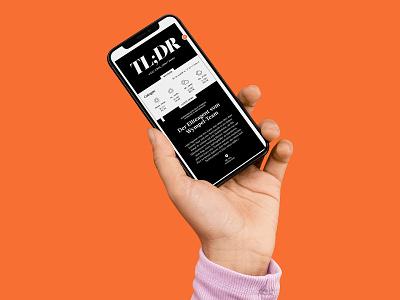 TL;DR app acta typography ui design minimal grid orange black  white black news reader screendesign uidesign ui webdesign tldir