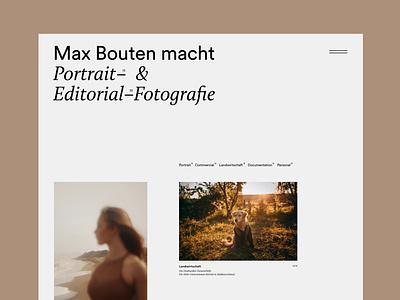 Photographer Portolio photographer photography screendesign webdesign grid minimal typography