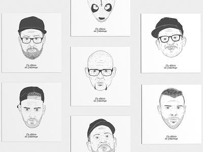 Rap Artist Illustration line art portrait vector typography illustration