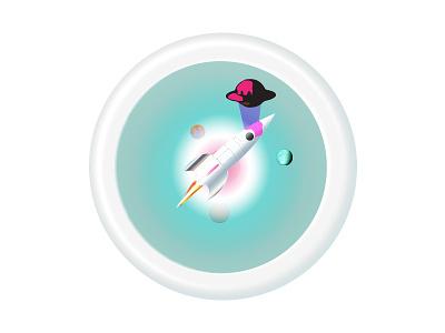 Space Invader rocket illustrator space