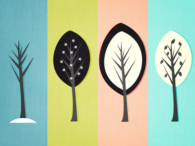 Seasons illustration simple texture tree