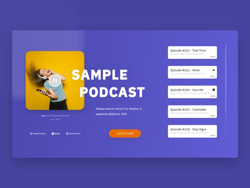 Sample Podcast Website podcast concept adobe xd
