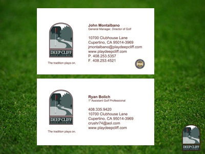 Deep Cliff Golf Course Business Cards uxui graphic design mobile golf business cards print