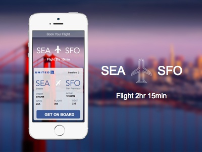 United Airlines Flight Card Concept uxui web design graphic design mobile flight travel