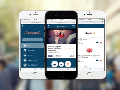 Startupvids startup mobile video ui ux web startups psd ai sketch