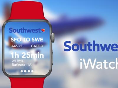 Southwest Airlines iWatch - Concept  startup photoshop designer iwatch mobile design sketch ux ui
