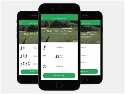 Golf Reservation App user interface product design ios visual ux ui mobile