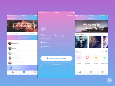 Humm.ly Mobile IOS App user interface product design ios visual ux ui mobile