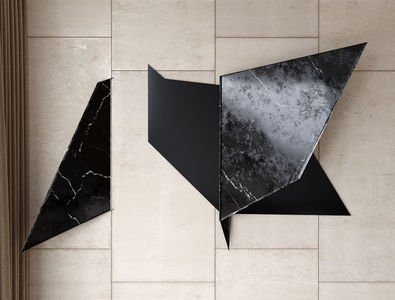 "Wall installation ""polygon"" - Quartz and modern steel installation bussines ceresermarmi marmi cereser decor decoration interior design interior wall"