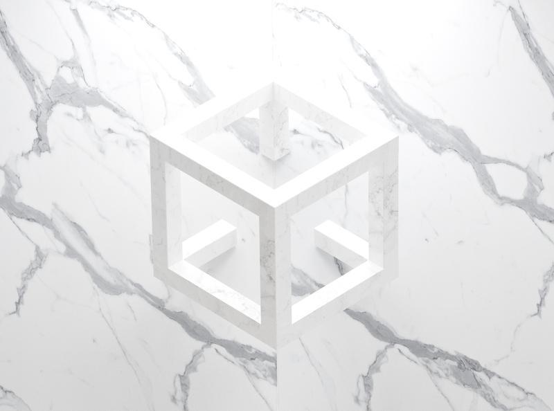 "Logo ""Calacatta Quartz"" on wall quartz marble 3ds max 3dsmax logo design"