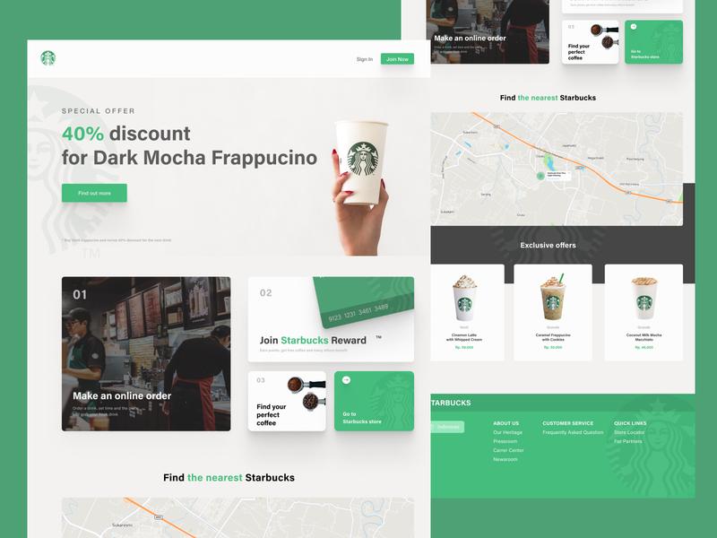 Starbucks Indonesia website drinks coffee minimal website starbucks flat design app ui