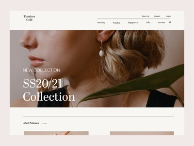Timeless Gold - New Collection Page jewelry new collection concept design ui website design