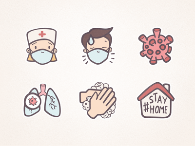 FREE Hand-drawn Pandemic Icons freebies freebie free pandemic illustration clipart icon design icons doodle hand drawn