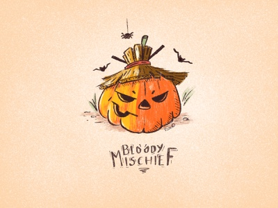 Bloody Mischief spooky evil pumpkin haloween illustration icon design icons doodle hand drawn