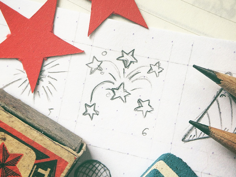New Year's Icons Freebie sketch hand drawn tiny art doodle new years free freebie design icon icons
