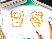 Spooky Icons - Frenkenstein Monster and Zombie Dude
