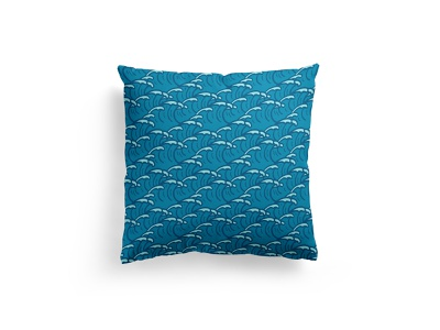 Hand Drawn Pattern - Waves sea waves wave blue pillow fabric illustration seamless doodle hand drawn pattern summer
