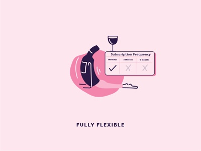 Flexible Subscription payments wine label pilates yoga alcohol illustration wine bottle wine logo