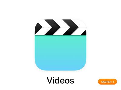 "Apple ""Videos"" App Icon films movies photo editor avi badge mp4 top branding logo 13 icon design ios iphone mobile apple app icon app"