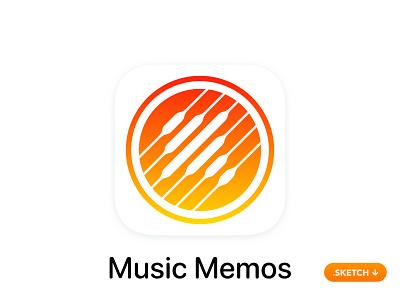 "Apple ""Music Memos"" App Icon - iOS 13 secret idea simple interface artist song voice music top 14 flat 13 logo design ios icon apple app icon app"