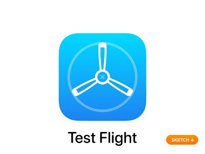 "Apple ""Test Flight"" App Icon - iOS 13 install mobile developer beta ipad imac top freebie svg vector sketch logo design iphone ios testing testflight flight test app icon"