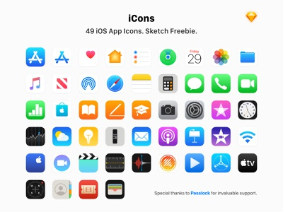 49 Apple App Icons - Sketch Freebie stock safari card business wallet weather health music store play drop air flight test connect icon free ultimate bundle set