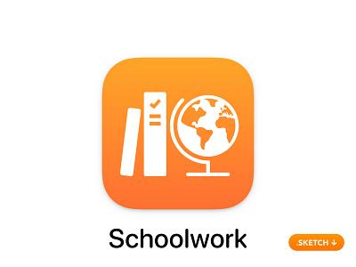 Apple Schoolwork App Icon work school sketch vector illustration brand ui room glyph monitor class top logo apple icons icon design app icon app