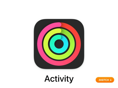 Apple Activity App Icon workouts calorie heart rate vector illustration brand ui sport gym exercise activity top logo apple icons icon design app icon app