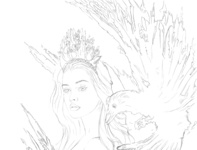 Digal painting - The princess of ravens sketch