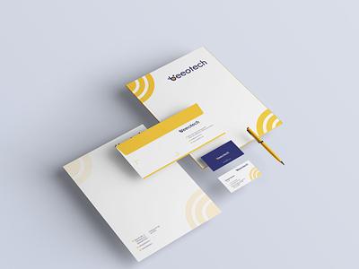 Beeotech Stationary bee logo bee technology folder letterhead stationary design stationary brand identity business card design businesscard branding logodesign design