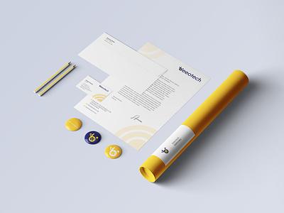 Beeotech Stationary Design bee logo bee technology stationary design stationary folder letterhead brand identity business card design businesscard logo logodesign branding design