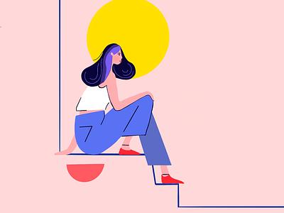 Girl sitting on sunrise dream pink sunrise girl illustration