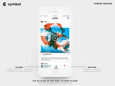 Cymbal 2.0 Hybrid Tab Bar / Player tab bar music app apple music spotify soundcloud player pandora music mobile ios cymbal app