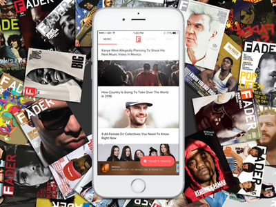 The Fader app redesign apple music soundcloud spotify mobile music app ios playlist articles player magazine fader