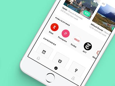 Hop - Teleportation App place categories popular location trending recents discovery travel explore mobile app ios