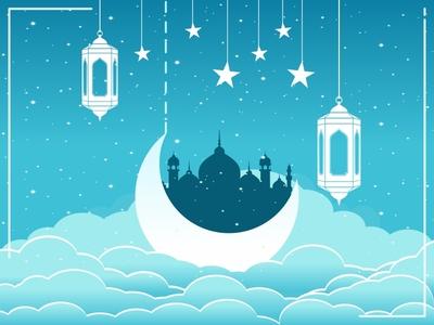 Greetings Ramadan Kareem Sky Blue Background