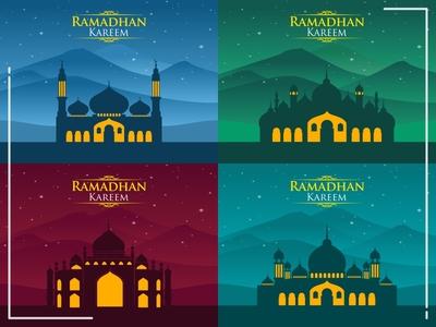 Greetings Ramadan Kareem Mountain Background