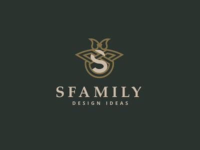SFamily logo interior design green decorative luxury logo logo design clean design icon design branding gold solid luxury interior logodesign logotype logo